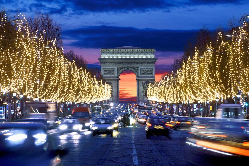 Champs-Elysees with Christmas lights.